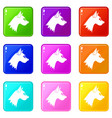 dog icons 9 set vector image vector image