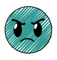 doodle angry face gesture emoji expression vector image
