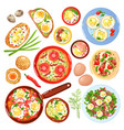 egg dishes set vector image vector image