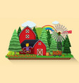 farm scene with carrots garden and red barns vector image