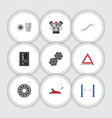 flat icon service set of warning automatic vector image vector image