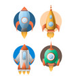 four rockets colorful flat poster isolated vector image vector image