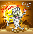 halloween mummy with a candy under the moon vector image