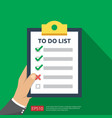 hand holding to do list or planning in flat style vector image vector image