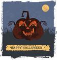 happy halloween card with pumpkin head vector image