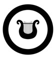 harp icon black color in round circle vector image vector image