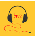 Headphones with red cord Love card Red text heart vector image vector image