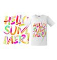 hello summer t-shirt design modern print vector image vector image