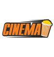 logo for cinema with a popcorn bucket vector image
