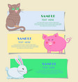 nursery three horizontal cards with pets for kids vector image vector image