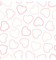 outline red and pink hearts seamless pattern vector image vector image
