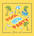 pool party social media banner template active vector image vector image
