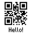 qr code sample icon with text hello vector image vector image
