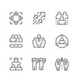 set line icons teamwork vector image