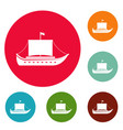 ship ancient icons circle set vector image
