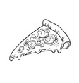slice of pizza coloring book vector image vector image