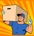 strong man courier delivery in a box online store vector image