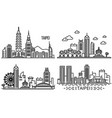 taipei banner set outline style vector image