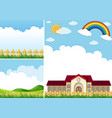 three background scenes with blue sky vector image vector image