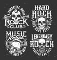 tshirt prints with skull mascot for rock band set vector image