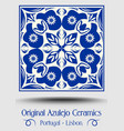 vintage ceramic tile in azulejo design with blue vector image vector image