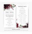 wedding program for party amp ceremony card vector image vector image
