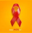 world aids day concept aids awareness red ribbon vector image