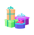 wrapped gift boxes in decor paper isolated vector image vector image