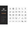 30 contact line icons vector image vector image