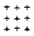 airplane symbols set aircraft plane jet black vector image vector image