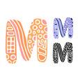 alphabet letter m kids education poster or vector image vector image