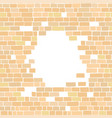 ancient sandy colored brick wall with a circular vector image