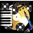 background music vinyl records saxophone guitar vector image vector image