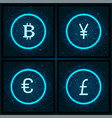 bitcoin and yen pound sterling icons set vector image vector image