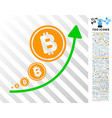 bitcoin inflation trend flat icon with bonus vector image vector image