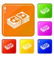 bundle note icons set color vector image vector image