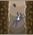 businessman falling over cliffs into abyss flat vector image