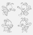 cartoon bee thin lines collection isolated on whit vector image