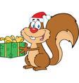 Cartoon christmas squirrel vector image vector image