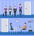 cartoon people waiting job interview concept vector image vector image