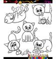 cats set cartoon coloring book vector image vector image