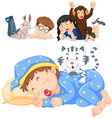 Children and their pets vector image