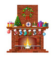 christmas brick classic fireplace vector image vector image
