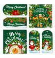christmas tag and label of winter holiday gift vector image vector image