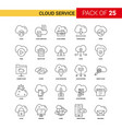 cloud service black line icon - 25 business vector image