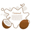 coconut exotic fruit whole cut poster vector image