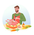 cook roasted turkey for christmas or thanksgiving vector image vector image