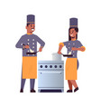 cooks couple professional chefs using frying pan vector image