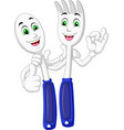 cool white blue spoon and fork cartoon vector image vector image
