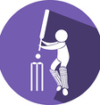 Cricket icon on round badge vector image vector image